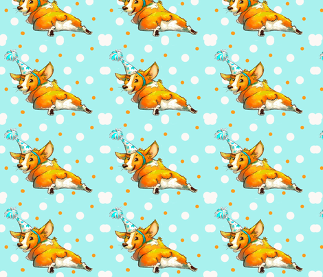 Pembroke welsh Corgi Birthday! fabric by designsbytirzah on Spoonflower - custom fabric