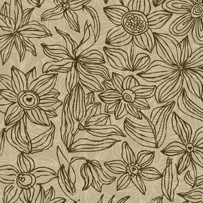 Hand drawn flower pattern