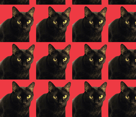 Velvet the cat 17 Red fabric by oceanpeg on Spoonflower - custom fabric