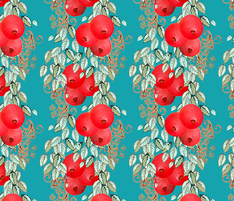 Pomegranate Stripe larger fabric by joanmclemore on Spoonflower - custom fabric