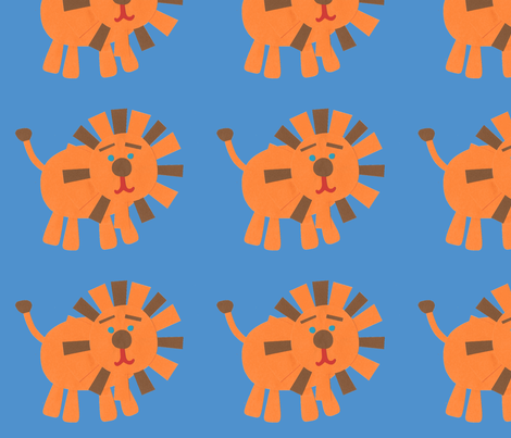 Retro Lions blue fabric by weebeastiecreations on Spoonflower - custom fabric