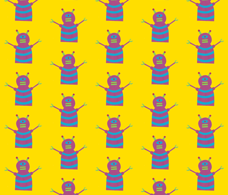 robots beep beep yellow fabric by weebeastiecreations on Spoonflower - custom fabric