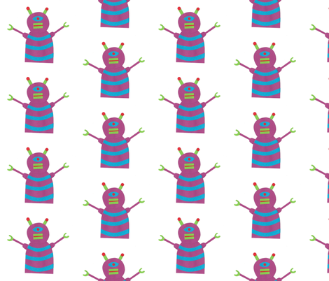 robots beep beep fabric by weebeastiecreations on Spoonflower - custom fabric