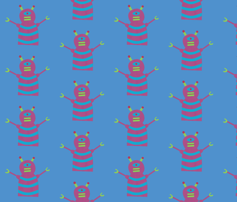 robots beep beep blue fabric by weebeastiecreations on Spoonflower - custom fabric