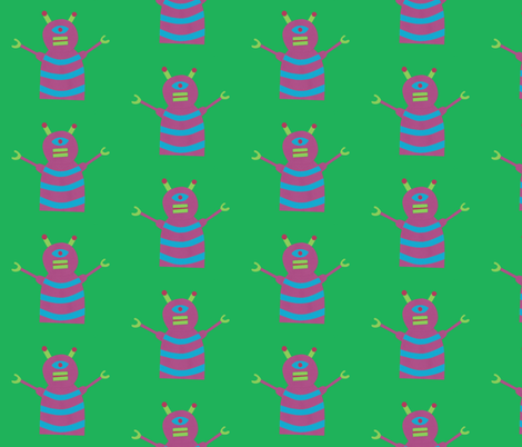 robots beep beep green fabric by weebeastiecreations on Spoonflower - custom fabric