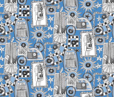 rock and roll blue fabric by scrummy on Spoonflower - custom fabric