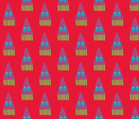 Tum tee tum squid red fabric by weebeastiecreations on Spoonflower - custom fabric