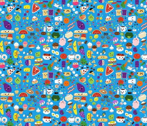 Happy Food Medley fabric by lyddiedoodles on Spoonflower - custom fabric
