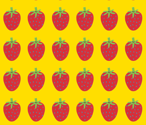 strawberry yellow fabric by fabricfaeries on Spoonflower - custom fabric