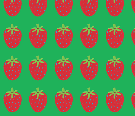 strawberry green fabric by fabricfaeries on Spoonflower - custom fabric