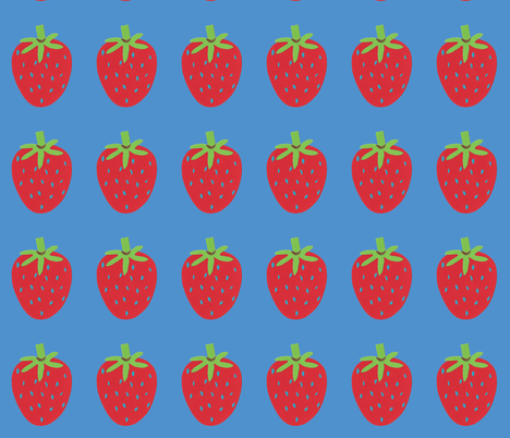 strawberry blue fabric by fabricfaeries on Spoonflower - custom fabric