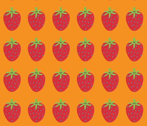 strawberry orange fabric by weebeastiecreations on Spoonflower - custom fabric