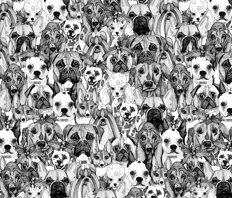 christmas dogs black & white fabric by scrummy on Spoonflower - custom fabric