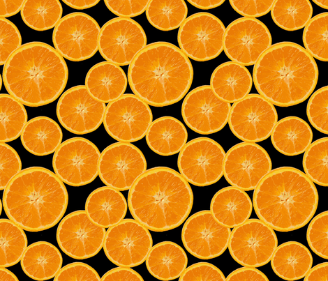 orange on black fabric by kociara on Spoonflower - custom fabric