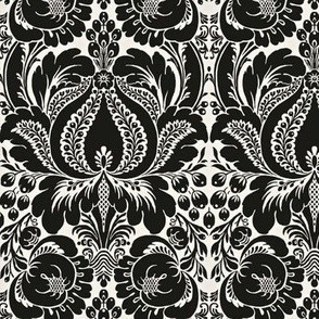 Black and white floral Damask