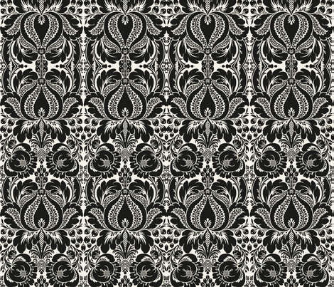 Black and white floral Damask fabric by whimzwhirled on Spoonflower - custom fabric
