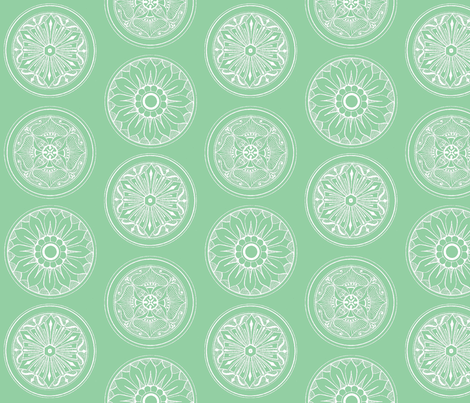 Medallions Mint Green fabric by dolphinandcondor on Spoonflower - custom fabric