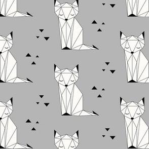 Sleepy Fox - Gray Background
