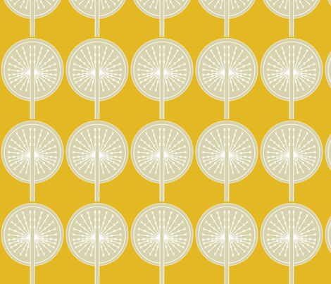 Dandelion on yellow B fabric by sary on Spoonflower - custom fabric
