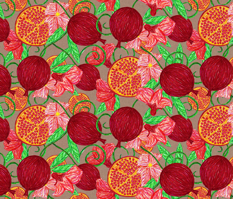 Pomegranate tree fabric by glanoramay on Spoonflower - custom fabric