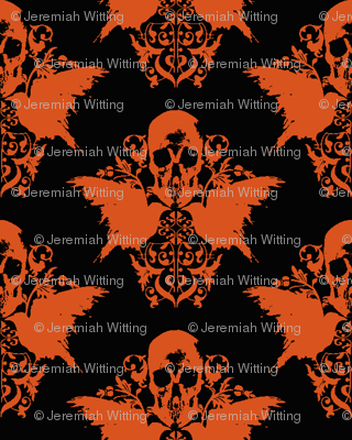 Skull and Raven Damask - Halloween orange