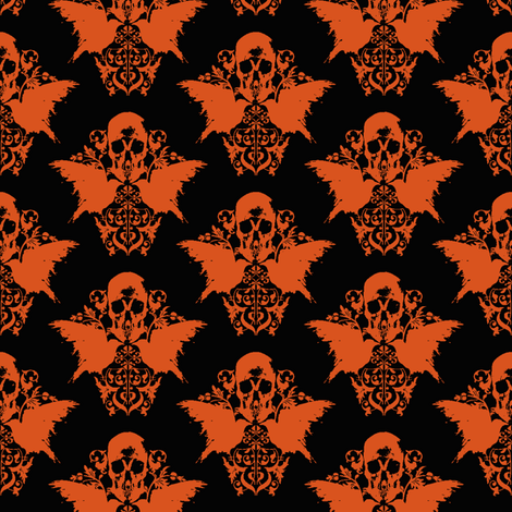 Skull and Raven Damask - Halloween orange fabric by thecalvarium on Spoonflower - custom fabric
