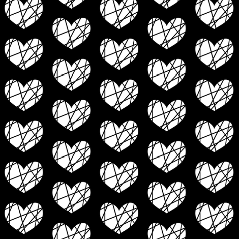 White heart on black abstract fabric by pencilmein on Spoonflower - custom fabric