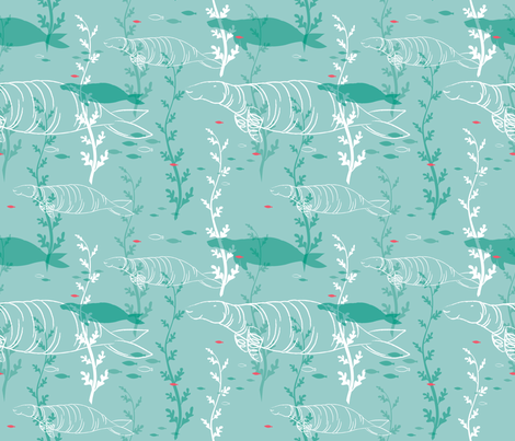 Steller's Sea Cow - © Lucinda Wei fabric by lucindawei on Spoonflower - custom fabric
