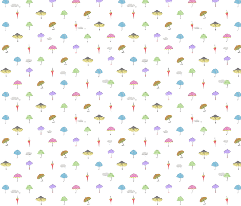 umbrella_white fabric by lakumuki on Spoonflower - custom fabric