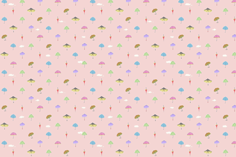 umbrella_pink fabric by lakumuki on Spoonflower - custom fabric