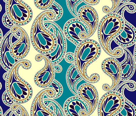 Bluegold Paisley fabric by lilichi on Spoonflower - custom fabric