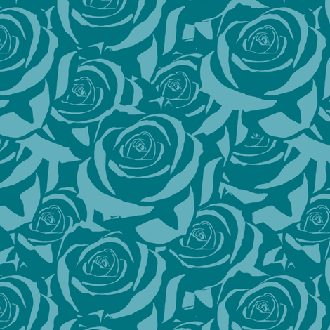 Blue Cabbage Roses fabric by fig+fence on Spoonflower - custom fabric