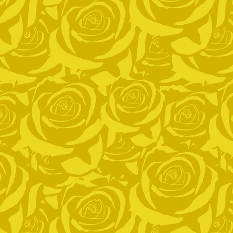 Yellow Cabbage Roses fabric by fig+fence on Spoonflower - custom fabric