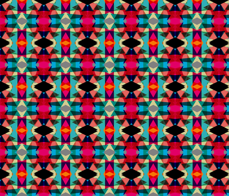 Tribal Fun Red Mint fabric by pencilmein on Spoonflower - custom fabric