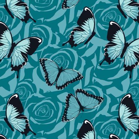 Small Blue Butterflies on Blue fabric by fig+fence on Spoonflower - custom fabric