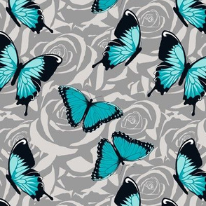 Small Blue Butterflies on Gray