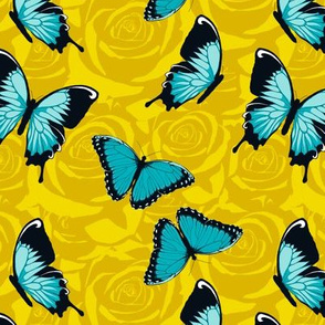 Small Blue Butterflies on Yellow