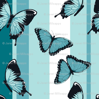 Blue Butterflies on Blue Stripes