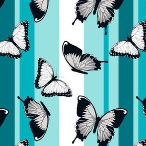 Gray Butterflies on Blue Stripes