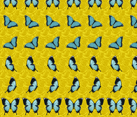 Blue Butterflies on Yellow fabric by fig+fence on Spoonflower - custom fabric