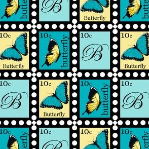 Large Yellow and Blue Butterfly Stamps