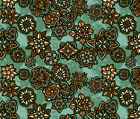 Flowers orange fabric by lilichi on Spoonflower - custom fabric