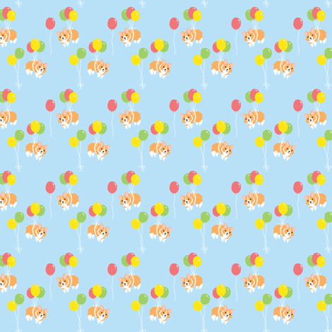 Corgi Party (Ditzy) fabric by hugandkiss on Spoonflower - custom fabric