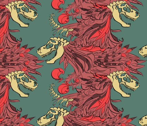 trexbonesandfeathers fabric by racheljones on Spoonflower - custom fabric