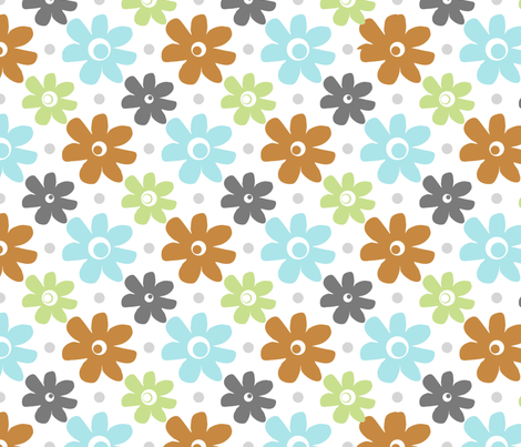 vintage_daisy_toss fabric by christiem on Spoonflower - custom fabric