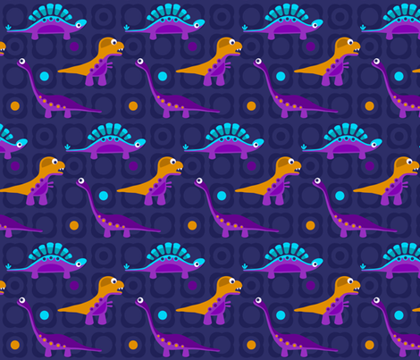 Delightful Dinos - Blue fabric by dianef on Spoonflower - custom fabric