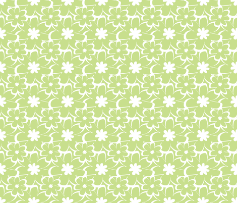 vintage silhouette green fabric by christiem on Spoonflower - custom fabric