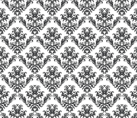Pineapple Damask Black fabric by flyingfish on Spoonflower - custom fabric