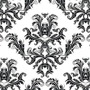 Pineapple Damask Black