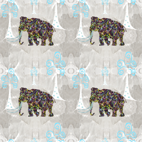 Woolly Mammoth on Ice fabric by taramcgowan on Spoonflower - custom fabric